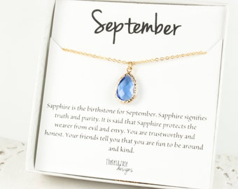 September Birthstone Gold Necklace, Sapphire Teardrop Necklace, September Birthday Jewelry, Bridesmaid Gift, Gifts Under 20