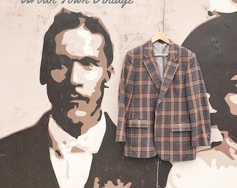 Vintage Charcoal Gray And Brown Wool Plaid Suit Jacket (Size REG. 42)