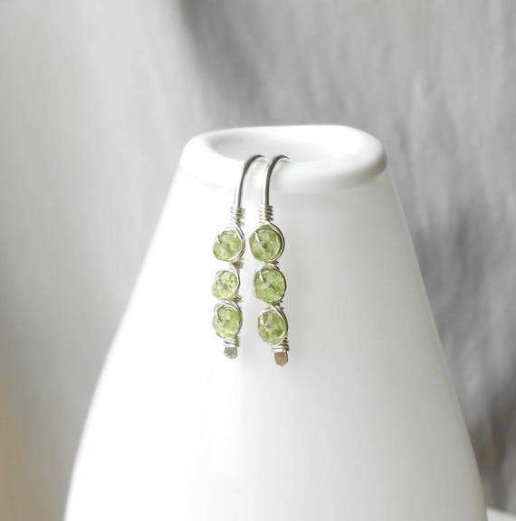 Wire Wrapped Sterling Silver Peridot Earrings