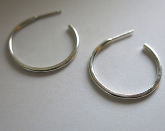 Classic mini sterling silver hoops on posts