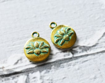 Antique Brass Verdigris Flower Charms- Boho Brass Lotus Blossom Charms Blue Green Patina-  Brass Jewelry Supply- Set of 15