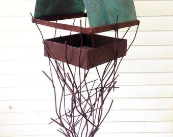 Sculptural Steel & Copper Bird Feeder No. 353 - Freestanding unique modern bird feeder