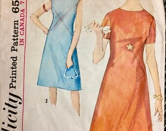 Misses' 1964 One Piece Dress Sewing Pattern Simplicity 5456  Bust 38 inches Complete