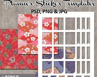 Templates printable digital collage sticker planner, Erin condren life planner full box, ribbons, DIY Kit plan stickers / photoshop, png