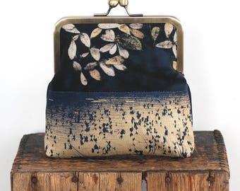 Leaf cross-body shoulder bag with kisslock purse frame, reeds, loch, lake, natural landscape