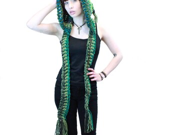 NEW comet hood scarf elfin festival vegan tassel green emerald sage olive