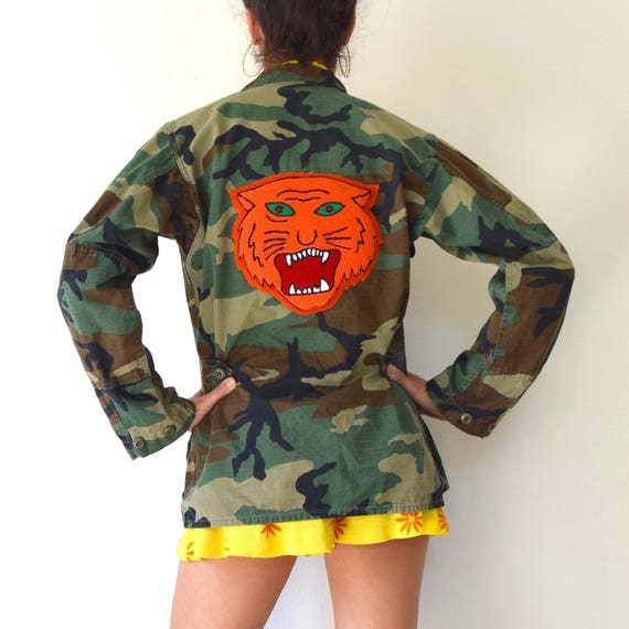 SUMMER SALE/ 30% off Vintage 80s 90s Military Camouflage Army Jacket with Chenille Tiger Patch