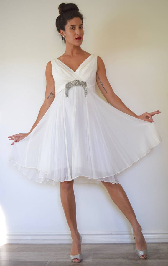 Vintage 60s Swan Song White Chiffon Party Dress (size small, medium)