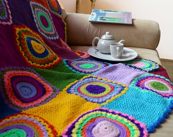 Bright Multicolor Throw, Afghan, Crocheted Blanket ***READY TO SHIP***