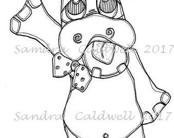 1638 Singing Hippo Digi Stamp