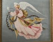 Angel of Summer ~ Framed Heirloom Quality Counted Cross Stitch Needlework Art