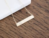 Dandelion Bar Necklace - Sterling, 14kt Gold Fill, Rose Gold - Custom Stamped Bar Necklace