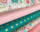 Fabric by the Yard, Baby Quilt fabric, Cloth Napkins Patchwork Quilt Fabric, Cotton Fabric, Just Sayin 1 fabric bundle of 5-Choose the Cut