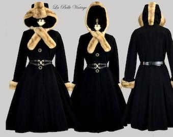 Full Skirt Hooded Princess Coat M L Vintage Mohawk Mink Fur Details