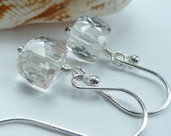 Artisan Crystal Quartz Gemstone Cube Sterling Silver OOAK Modern Minimalist Dainty Earrings