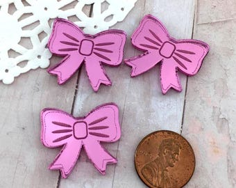 PINK MIRROR BOWS - Cabochons - Set of 3 in Laser Cut Acrylic