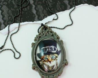 Steampunk Kitty - Glass tile Pendant Necklace