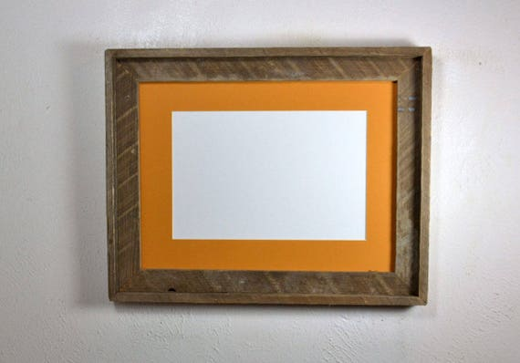12x16 Recycled Wood Picture Frame Dark Yellow 8x12 Mat