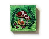 Woodland Scene Painting Miniature - Original Tiny Wall Art Acrylic on Canvas 2 x 2 Inches by Karen Watkins - Snail and Mushrooms Tiny Art