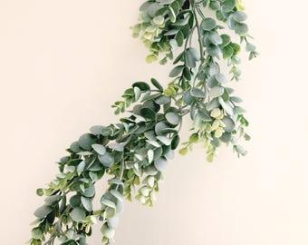 Faux eucalyptus garland, 5 ft. long, Artificial leaves, White ribbon ties, Hanging plastic leaves, Mantle decor, Eucalyptus wedding decor