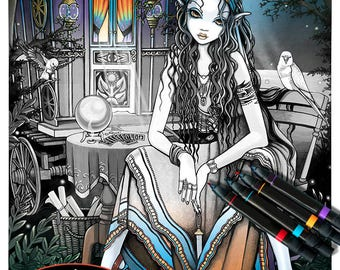 remember me grayscale digital download coloring page bohemian gypsy myka - Hippie Coloring Book