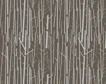 Perch in Bark Western Birds Organic Cotton Fabric Birch