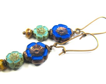"Bohemian Inspired Czech Glass Collection - ""Fleur"" Earrings"