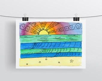 Rainbow beach sunset print - beach decor watercolour, stitch surf art print