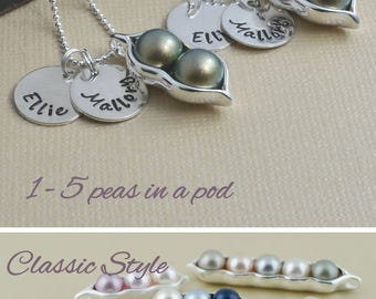 Mommy necklace, pea pod necklace, 12345 peas in a pod, personalized hand stamped, pearl birthstone, gift for mom, push gift, best friend