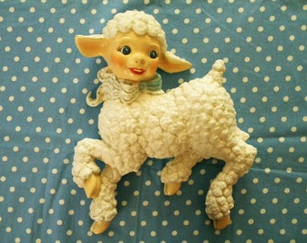 Large Vintage Lamb Wall Hanging with Human Face Signed Irene Smith 1961
