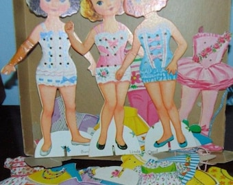 Vintage PAPER DOLLS Set Lace on Costumes....free USA Shipping