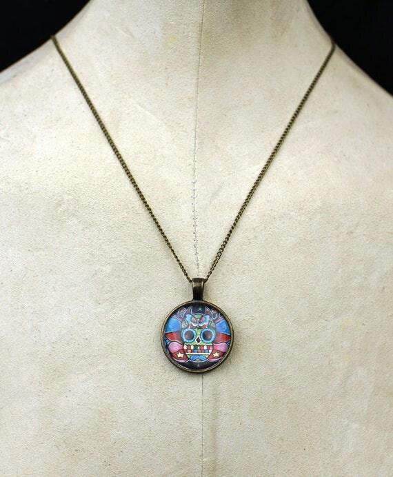 Custom tattoo day of the dead necklace pendant skull roses chest piece tattoos skulls dagger