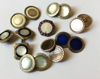 Antique Cuff Buttons - Art Deco - Enamel- Mother of Pearl