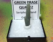 Rare GREEN PRASE QUARTZ Natural Terminated Crystal In Perky Specimen Box From Serifos Island Greece