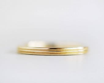 2mm Gold Wedding Band | Ridge Texture | Hand Carved Rustic Texture 14k 18k Gold | Women's Wedding Ring | Recycled Yellow Gold