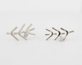 White gold and diamond earrings | rustic twig diamond earrings | diamond stud earrings | recycled diamond earrings | gift for her|