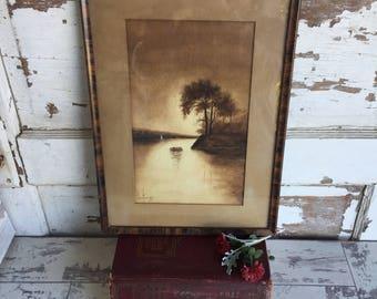 Vintage Sepia Painting Watercolor Antique Frame - Signed Olga Halberg