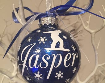 Snowboarder  themed personalised Christmas Bauble