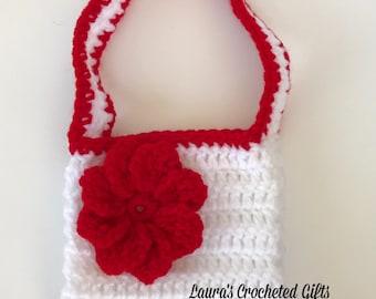Flowered Purse, Crochet Purse, Handmade Crochet, WhiteFlower Purse, Small Crochet Purse,White and Red Crochet Purse, Crochet Bag, Flower Bag