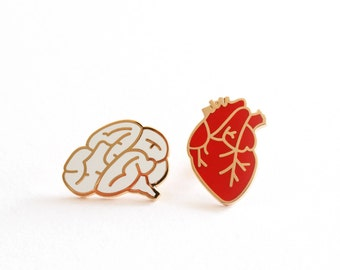 Heart & Brain Enamel Pin Badges, Set of Two Pins, Brooches, Hard Enamel Pins, Romantic Gift, RockCakes, Brighton, UK