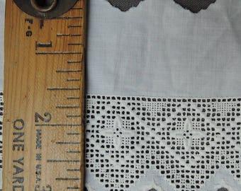 Antique Victorian Embroidered Cotton Trim 1-1/2 yards, Vintage  Cotton Lace, L6