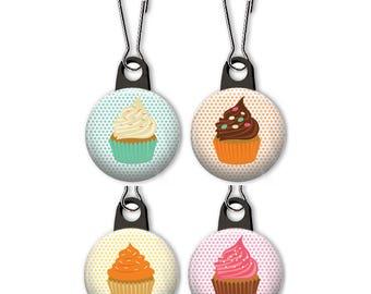 Cupcake zipper pull.  Cupcake charm.  Cupcake on polka dot background.