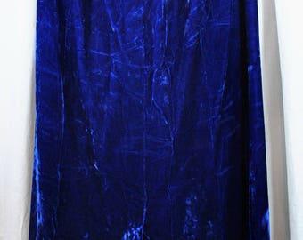 Vintage Velvet Maxi Skirt Royal Blue Crushed Velvet Long Winter Christmas Skirt With a Front Slit - Fully Lined