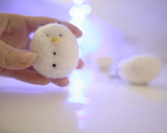 3 Needle felted snowman ornaments made of wool for Christmas trees