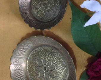 Pair of Indian Brass Offering Dishes for Altar