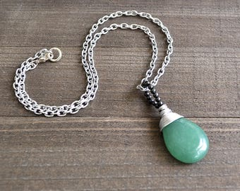 Green Aventurine Necklace Large Teardrop Hand Cut With Hematite Beads Silver Wire Wrapped