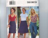 Misses Sewing Pattern Butterick 3132 French Connection FCUK Easy Wrap Skirt Pants Jeans Pencil Size 6 8 10 or 12 14 16 or 18 20 22 UNCUT