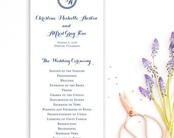 Monogram Wedding Program {set of 50} - Navy Wedding Programs - Classic Wedding Stationery - Wedding Planning - Elegant Weddings