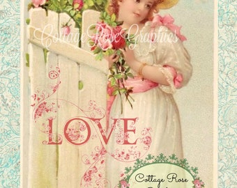 Vintage Valentine Love Large digital download Pink ROSES romantic single image ECS buy 3 get one free