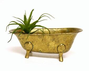 Vintage Miniature Aged Brass Bathtub Trinket Holder or Soap Dish